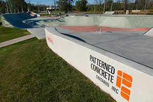 Lock 8 Skake Park with Patterned Concrete Logo